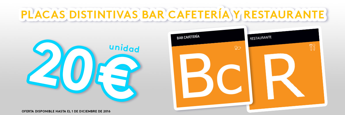 Placas distintivo Bar cafetería y restaurante