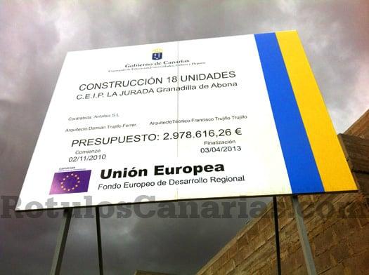 vallas de obra canarias fondo europeo